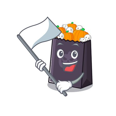 With flag halloween bag with the mascot shape vector illustration