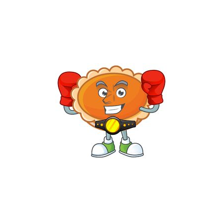 pastry orange pie character mascot with boxing. vector illustration