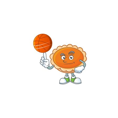 pastry orange pie character mascot with holding basketball. vector illustration