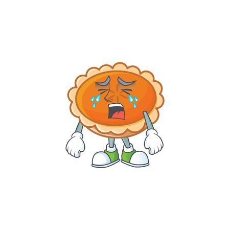 orange pie with crying character on white background.