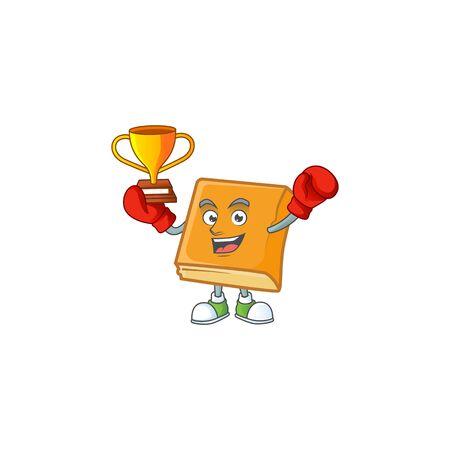 cornbread in the cartoon character boxing winner shape vector illustration