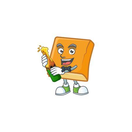 cornbread in the cartoon character bring beer shape vector illustration Stock Illustratie