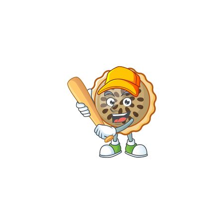 pecan pie with playing baseball mascot for icon character vector illustration