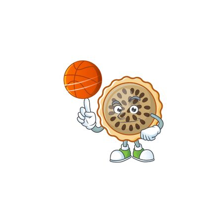 pecan pie with holding basketball mascot for icon character vector illustration Illustration