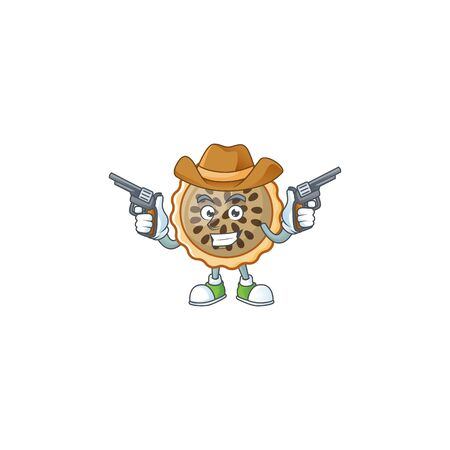 pecan pie with cowboy mascot for icon character vector illustration