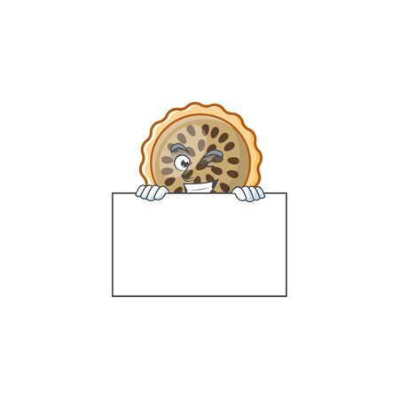 pecan pie with squinting with board mascot for icon character vector illustration Illustration