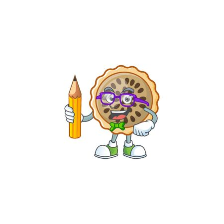 pecan pie holding pencil with cartoon character shape vector illustration Illustration
