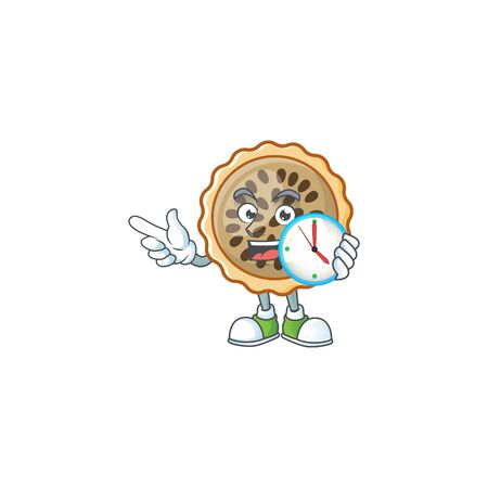 pecan pie with bring clock with cartoon character shape vector illustration Illustration