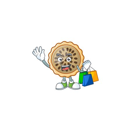 pecan pie shopping with cartoon character shape vector illustration