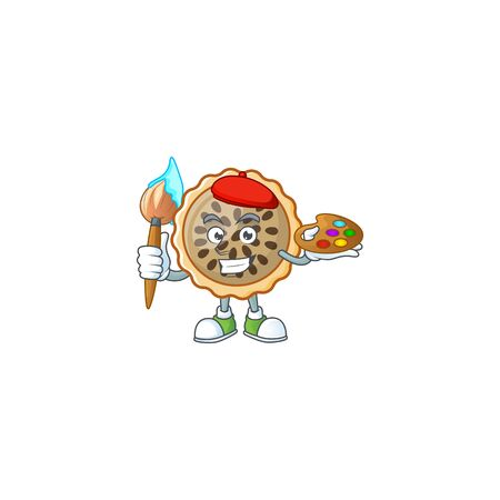 pecan pie with painter mascot for icon character vector illustration