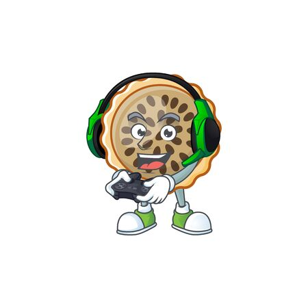 pecan pie with bring gaming mascot for icon character vector illustration