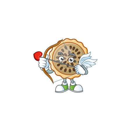 pecan pie with cupid mascot for icon character vector illustration
