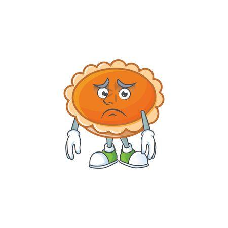 orange pie with afraid character on white background. vector illustration Stock Illustratie