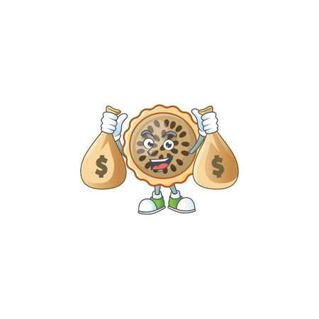 pecan pie with holding money bag mascot for icon character vector illustration
