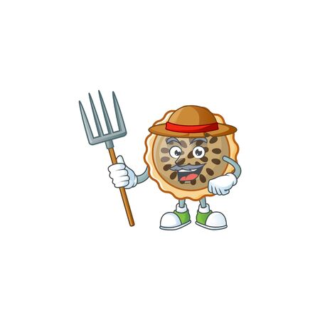 pecan pie with farmer mascot for icon character Illustration