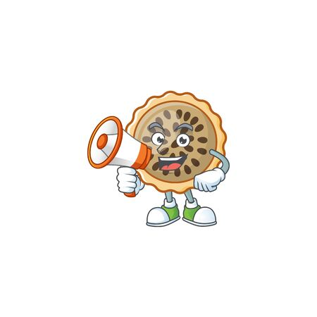 pecan pie with holding megaphone mascot for icon character
