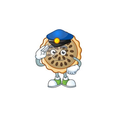 pecan pie with police mascot for icon character