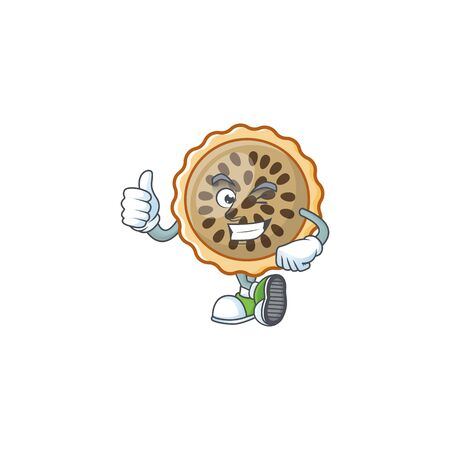 pecan pie thumbs up with cartoon character shape