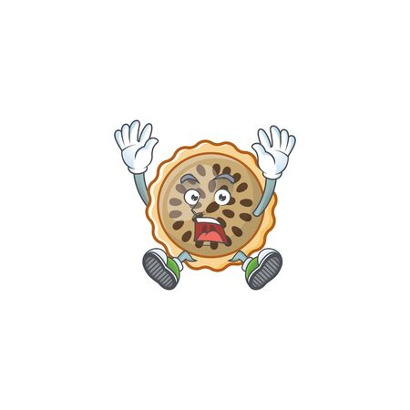 pecan pie successful with cartoon character shape Illustration