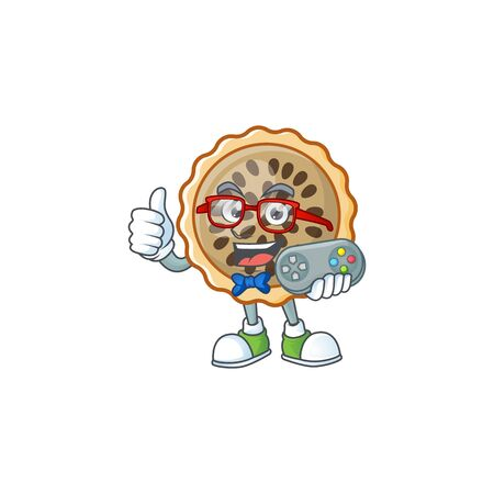 design pecan pie holding gamer with seeds topping Illustration