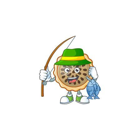 design pecan pie fishing with seeds topping Stock Illustratie