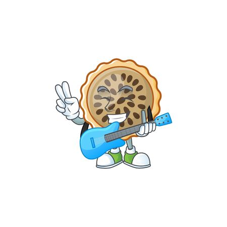 design pecan pie with guitar with seeds topping Illustration