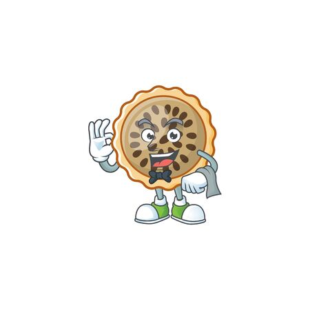 design pecan pie waiter with seeds topping vector illustration Illustration