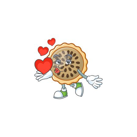 design pecan pie holding heart with seeds topping