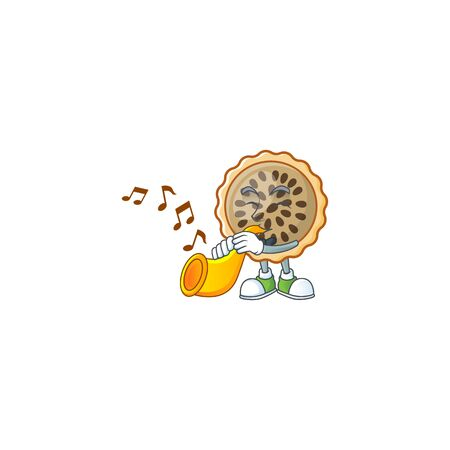 design pecan pie with trumpet with seeds topping Illustration