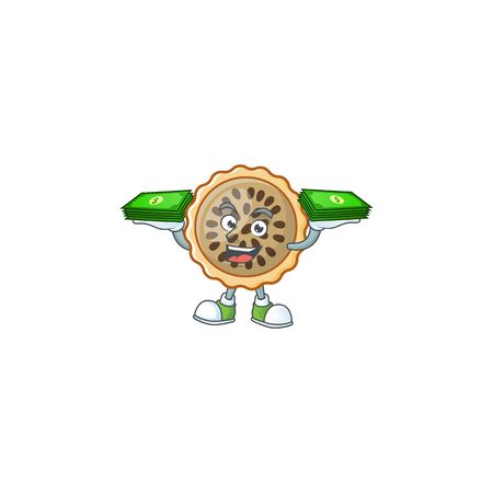 design pecan pie holding money with seeds topping Illustration