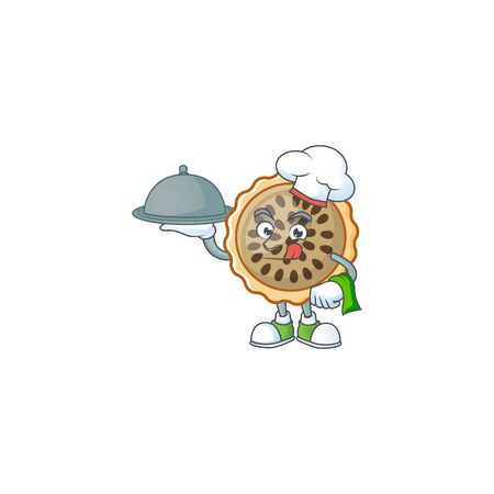design pecan pie chef holding food with seeds topping