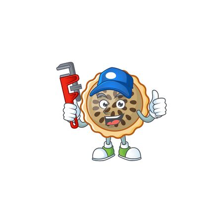 pecan pie mascot with plumber on white background