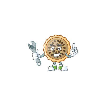 pecan pie mascot with mechanic on white background