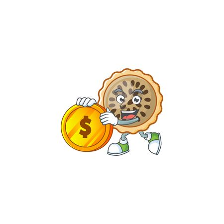 pecan pie mascot with bring coin on white background