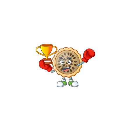 pecan pie mascot with boxing winner on white background Illustration