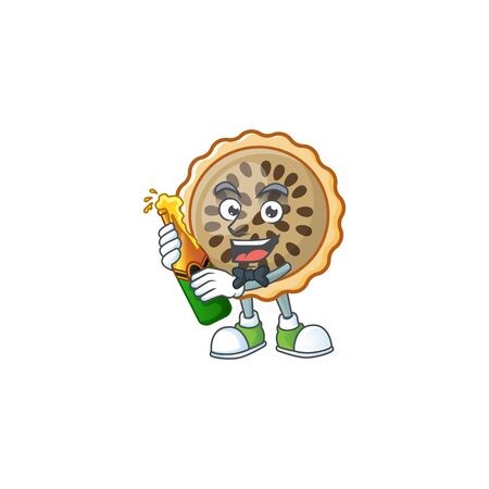 pecan pie mascot with bring beer on white background