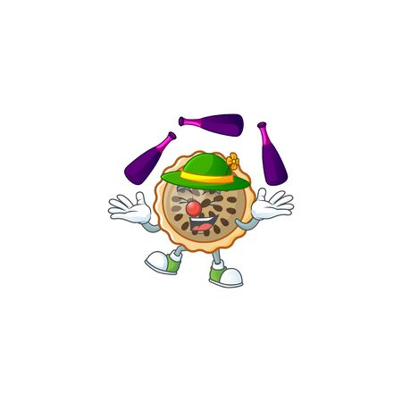 pecan pie mascot with juggling on white background