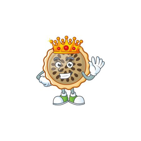 pecan pie mascot with king on white background Illustration
