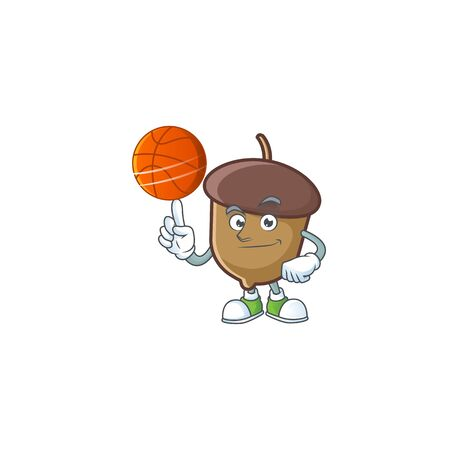 cartoon acorn seed with holding basketball character shape