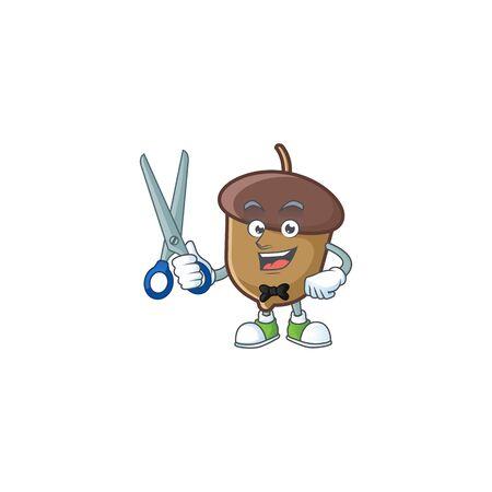 cartoon acorn seed with barber character shape Stock Illustratie