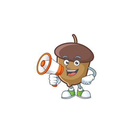 cartoon acorn seed with holding megaphone character shape