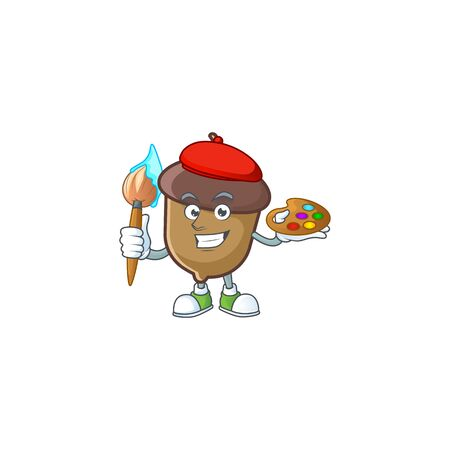 cartoon acorn seed with painter character shape