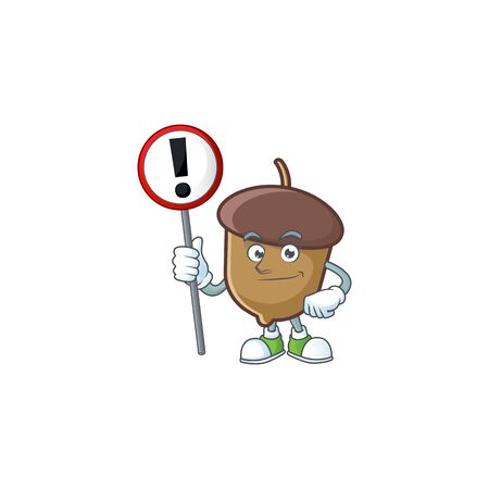 cartoon acorn seed with sign warning character shape Stock Illustratie