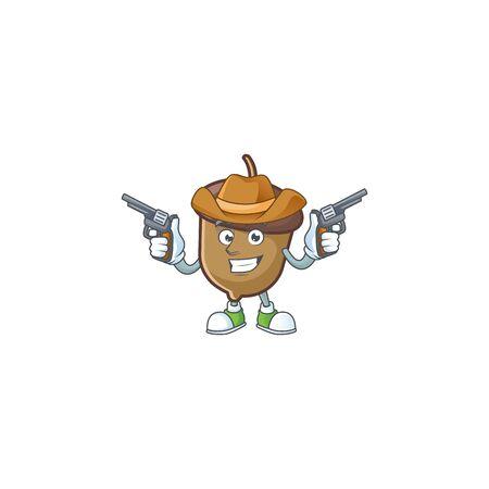 cartoon acorn seed with cowboy character shape Stock Illustratie