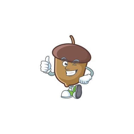 acorn mascot with thumbs up on white background.