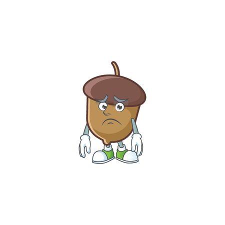 cute acorn with character mascot design afraid Stock Illustratie