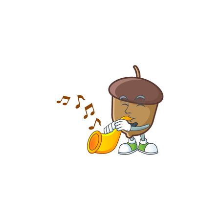 cute acorn with character mascot design with trumpet