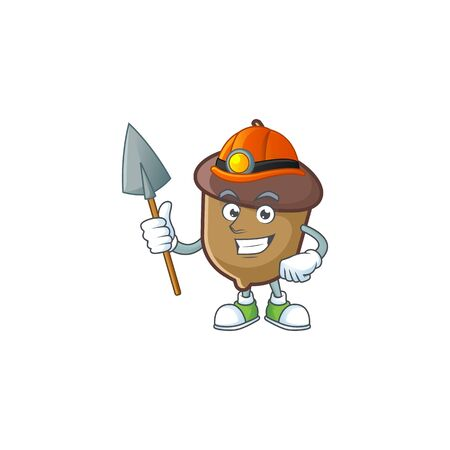 cute acorn with character mascot design miner
