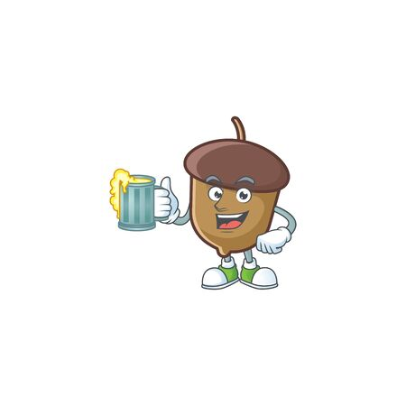 cute acorn with character mascot design holding juice