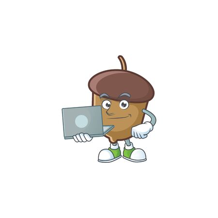 cartoon acorn seed with bring laptop character shape